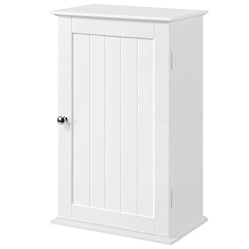 Topeakmart Bathroom/Kitchen Wall Mounted Single Door 3 Tier Adjustable Storage Shelf Medicine -
