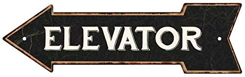 Chico Creek Signs Elevator Left Arrow Vintage Looking Metal Sign 5x17 205170004011