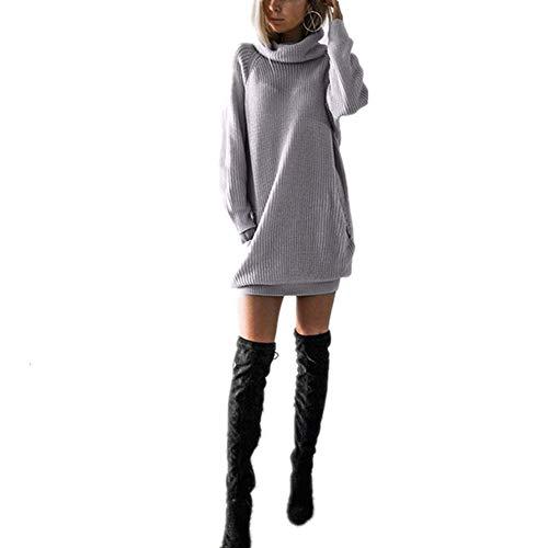 N\P Más El Tamaño De Las Mujeres De Invierno Vestido De Manga Larga De Punto De Cuello Alto Suéter Ropa Casual Señoras Mini Vestidos De Otoño De Mujer Traje