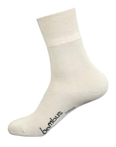 Wowerat 6 Paar Bambus Socken für Sie & Ihn - (39/42, Beige)