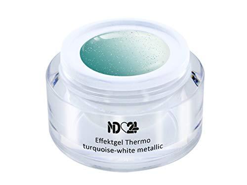 Uv Led Effekt-Gel Thermo Turquoise-White Metallic - Studio Qualität - Made In Germany - 5ml