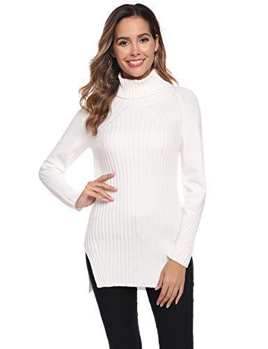 Abollria Pull Femme Hiver Col Roulé Tricot Chaud sous Pull Col Montant Hauts Femmes Basique à Manches Longues Chic à la Mode, Blanc, XL