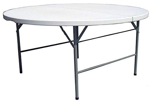 PEGANE Table Pliante avec Plateau Rond en polypropylène Haute densité- A Usage Professionnel - Dim : H 74 x Ø 150 cm