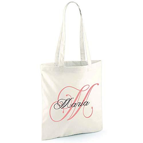 calledelregalo Regalo personalizado: Bolsa TOTE 100% algodón orgánico personalizada con inicial y nombre