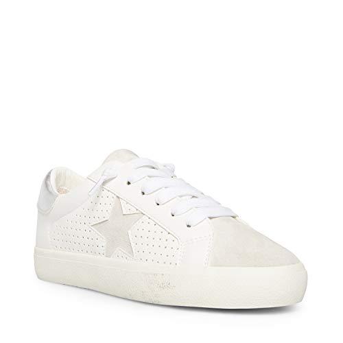 Madden Girl Women's Blieve Skate Shoe, White/Silver, 9.5