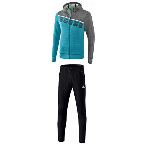 Erima Herren Trainingsanzug 5-C Oriental Blue Melange/Grau Melange/Weiß XXXL