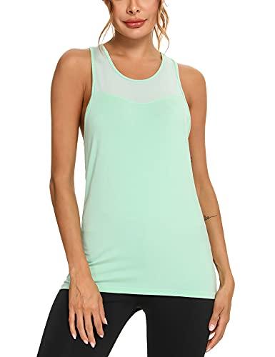 Wayleb Camiseta sin Mangas para Mujer Camiseta de Tirantes de Deporte Chaleco Deportivo Verano Camisola Fitness Yoga Tank Top Pijama,Agua Verde,M