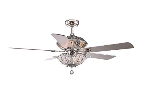 YIDAFAN Ceiling Fan, 52' Indoor/Outdoor Ceiling Fan Kit, Classical Crystal Ceiling Fan with Remote,...