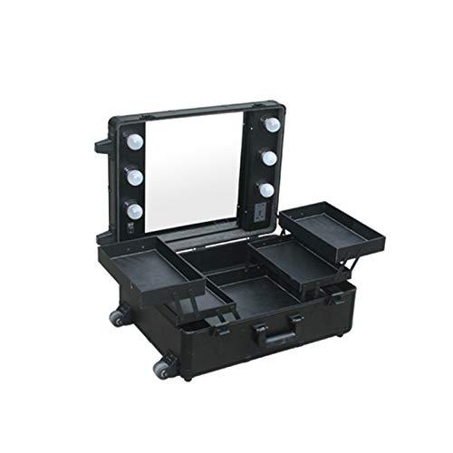 Z-Case@ cosmeticakoffer trolley Professionele cosmetica visagisten make-up koffer met cosmetica vakjes, 6 ledlampen, make-up spiegel, 4 wielen, voor make-up reizen, kapperskoffer