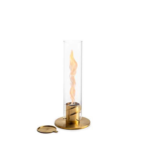 höfats - Spin 90 Gold inklusive Edelstahl Nachfülldose - Bioethanolkamin für Indoor und Outdoor - Tischfeuer, Windlicht und Gartenfackel aus Edelstahl