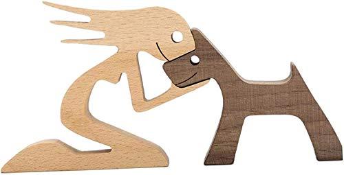 Adornos de talla de madera, diseño de cachorro de familia, artesanía de madera maciza natural, escultura, figura tallada a mano, regalos creativos para el hogar y la oficina (estilo 3)