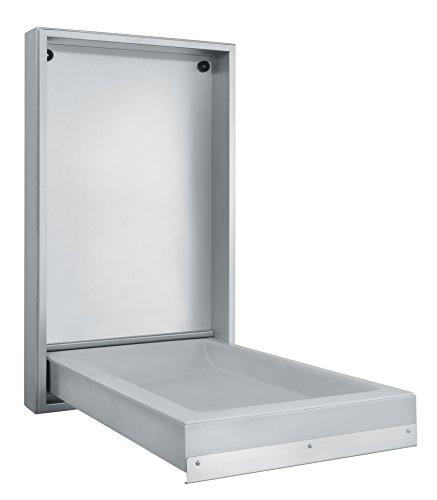 KEMMLIT Ferrol vertikal Wickeltisch- klappbar als Wandwickeltisch, Chrom, Edelstahl, 54 x 13,5 x 94,6 cm
