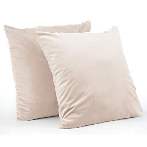 mDesign Juego de 2 fundas de cojín – Forro para cojines hipoalergénico de poliéster con aspecto de terciopelo – Suaves fundas decorativas para cojines de sofá sin relleno – crema/beige