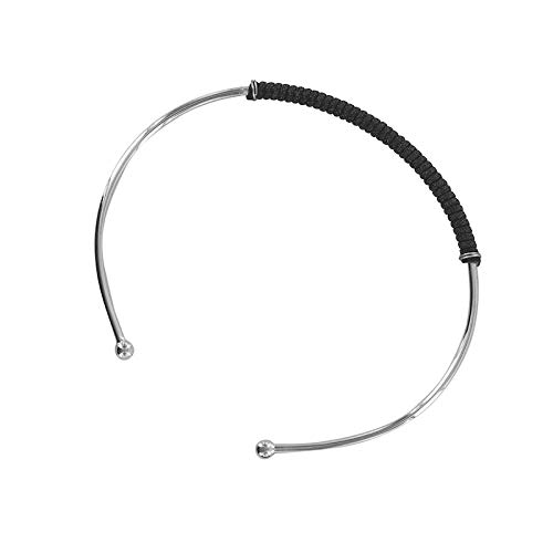 Pulsera de junco ajustable con cordón negro y plata maciza 925