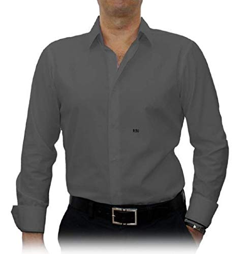Grey Solid Stretch Cotton #cc44, 100% Cotton, Men's Monogrammed Custom Tailored Dress Shirt