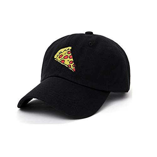 General Pizza Cap,Pizza Embroidery Baseball Cap,Adjustable Size Dad Hat Unisex (Black)