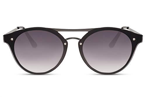 Cheapass Gafas de Sol Exclusivas Puente Doble Flat Redondas Metal Montura Negra protección UV400 Mujer