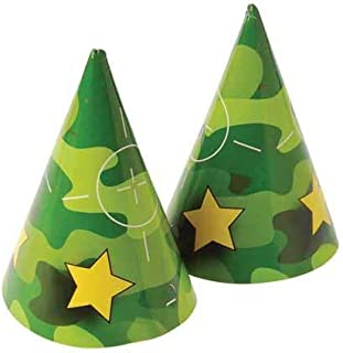 36 Pack Camouflage Party Paper Hats With Chin Straps (Size: 7