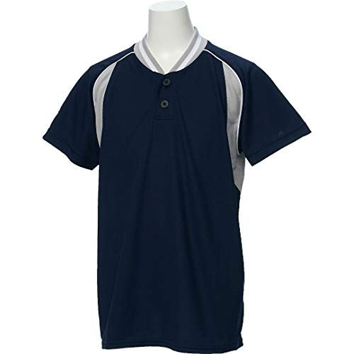 アシックス(asics) 野球 ウェア ジュニア ベースボール シャツ 半袖 2ボタン BAD12J 130サイズ ネイビー/シルバーグレー BAD12J ネイビー/Sグレー 130