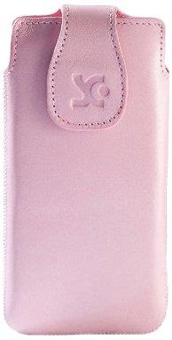 Original Suncase Echt Ledertasche für Motorola RAZR i rosa