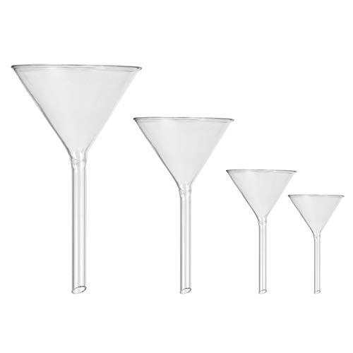 ibasenice 4 Stück Glastrichter Labortrichter Hochtemperaturbeständiger Kurzhalstrichter Dreieckstrichter Flüssigkeitsübertragungs-Trichter für Küchenlabor 40 Mm/ 50 Mm/ 75 Mm/ 100 Mm