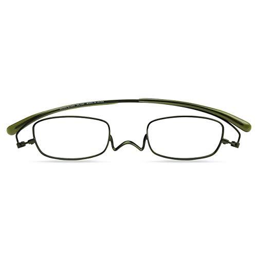 [薄型 老眼鏡 ?ペーパーグラス] NEWスタンダード Nスタ スクエア 202 フラットカラー(モスグリーン)(+1.5) 携帯用ケース付き 財布に入る老眼鏡 栞(しおり)型リーディンググラス メンズ レディース プレゼントギフト 鯖江製 1年間保証 2