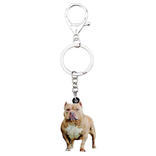 SHUHUI Acrílico Pit Bull Terrier Perro Llaveros Llavero Bolsa Joyería para Mujeres Niña Titular Coche Encantos Mascota Venta