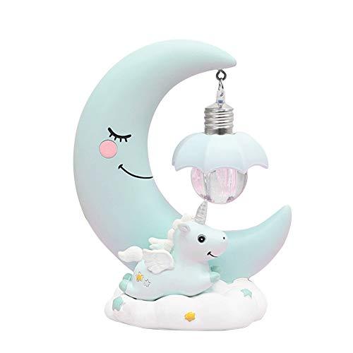 Qinlee LED Nachtlicht Kinder Harz Mond Einhorn Cartoon Baby Kinderzimmer Lampe Atmen für Kinder Kind Mädchen Spielzeug Geschenk für Babyzimme-Blau