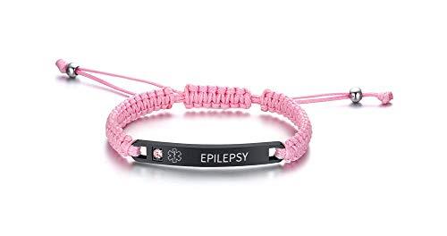 PJ JEWELLERY Epilepsy Adjustable Braided Rope Medical ID Bracelets Paracord Weaving Medical Alert Macrame ID Bracelets for Men Women