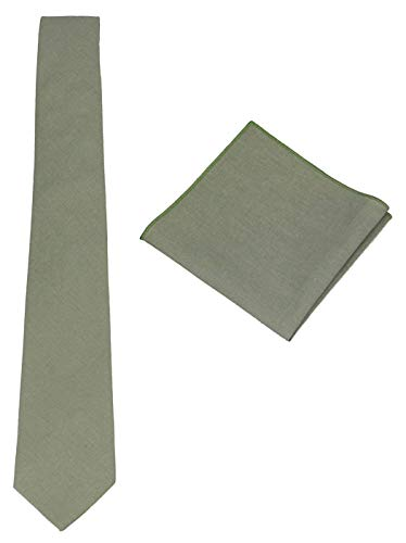 Mens Solid Skinny Linen Tie with Pocket Square Gift, Sage Green, Size One Size