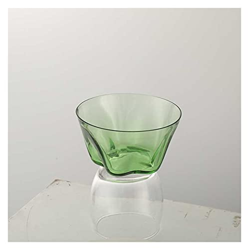 Takagawa HHH Vidrio Tazas de Agua Copas de Vino Manzana Verde Color Champagne Vidrio Ensalada Fresca Cuenco Fruta tazón Taza de Vidrio de Cerveza HHH (Color : Small Bowl)