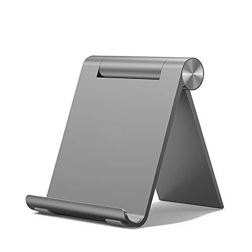 Soporte de teléfono plegable de aluminio, soporte universal para teléfono móvil con ángulo ajustable (gris)