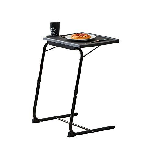 Rubypin Multifunction TV Tray Table - Folding TV Tray on Bed & Sofa with Cup Holder, Comfortable Folding Table with 6 Height & 3 Tilt Angle Adjustments (Black)