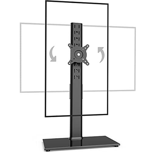 Supporto singolo per monitor indipendente da 27 a 43 pollici Monitor Braccio curvo per monitor monitor in vetro temperato Base regolabile in movimento inclinabile da -15 ° a 10 ° girevole ± 45 °