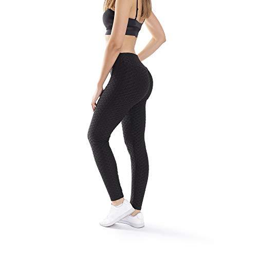Trendcool Mallas Deportivas Mujer. Leggins Deportivos Mujer para Running, Padel, Yoga y Ejercicio. Mallas Deporte Mujer. Malla Negro. (M12, S/M)