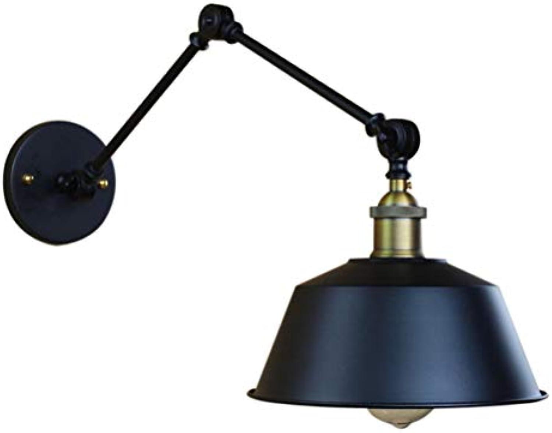 Jingya Langarm Wandleuchten, postmoderne LED Eisendekoration Faltbare Hngelampe Wandleuchte Kreative Cafe Schlafzimmer Wandleuchte mit Schwenkarmen-Schwarz