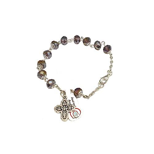 DELL'ARTE Artículos religiosos, pulsera rosario de cristal borealizado, 8 x 6 m, con copas, color violeta
