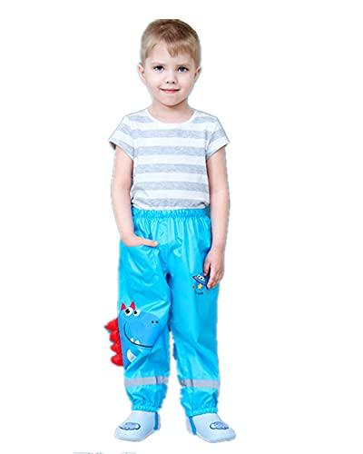 FUNUPUP Toddler Rain Pants, Waterproof Rain Trouser Mud Dirty Proof Pants Outdoor Children Dinosaur Rainwear-Blue-L