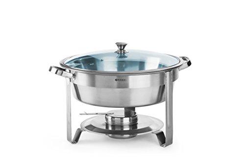 HENDI Chafing Dish, Rund, mit Glasdeckel mit einem Brennpastenbehälter und Lebensmittelpfanne, Warmhaltebehälter, Speisewärmer, Behälter, 3,5L, ø390x(H)270mm, Edelstahl 18/0