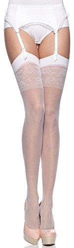 Merry Style Medias Novia Autoadhesivas con Estampado de Liga Lencería Sexy Mujer MS 194 20 DEN (Blanco, S-M)