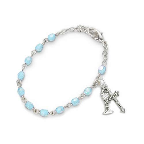 3mm March Aquamarine Birthstone Rosary Beads First Communion Bracelet w/Chalice & Crucifix Charms | Size: 6 1/2