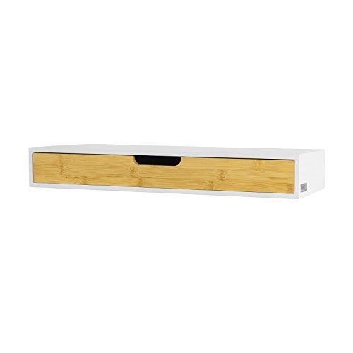 SoBuy FRG93-WN Zwevende plank wit | Hangende lade | Wandplank bamboe | Boekenplanken | 60x24.5x8cm