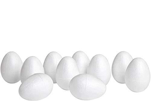 YooKreativ Styropor-Eier, 6cm hoch, Ø 4cm, 20 Stück, Styroporeier Ostern