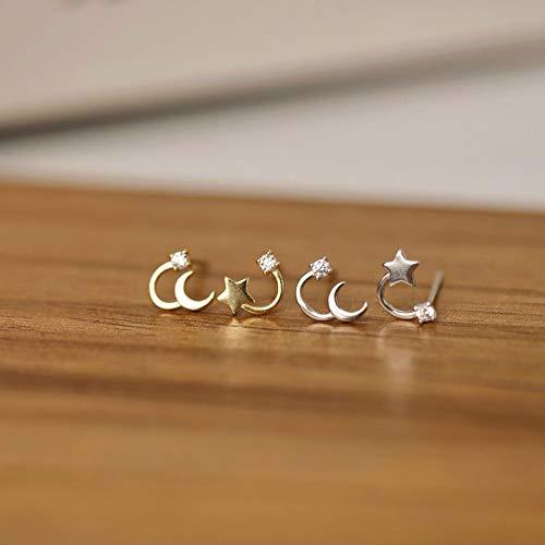 LIEQUAN Diseño Simple Sentido de pequeños Mini Pendientes de Moda Mujer S925 Pendientes de Estrella y Luna de Plata Pendientes asimétricos(Oro Blanco)