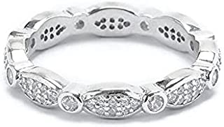 خاتم الزفاف والخطبة فضة إسترليني 925 مطعم بكريستال سولتير للنساء من مجوهرات مورجان