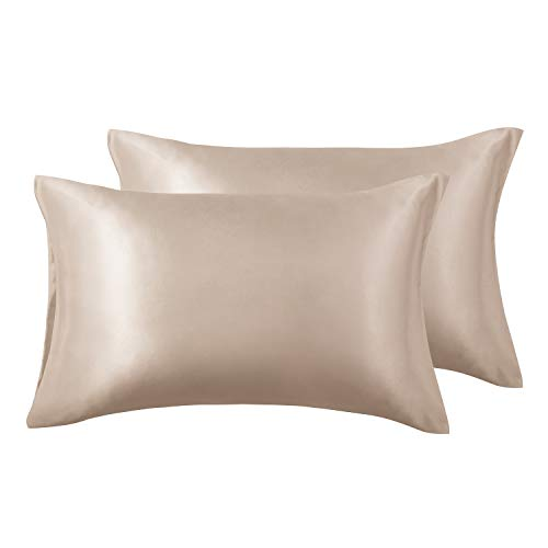 Love's cabin Silk Satin Pillowcase for Hair and Skin (Camel Taupe, 20x30 inches) Slip Pillow Cases Queen Size Set of 2 - Satin Cooling Pillow Covers with Envelope Closure