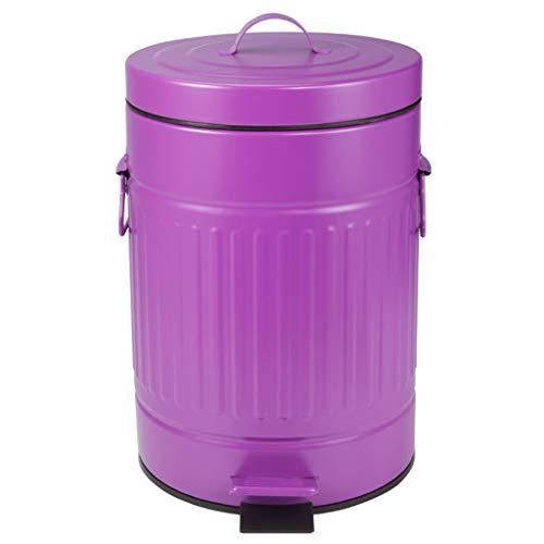 LQY Poubelle, Poubelle Domestique, Style rétro, Parfaite pour la Cuisine, Salle de Bains, Salon, 7L, 20x20x31cm,Purple