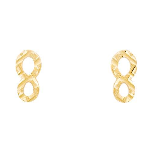 Pendientes con diseño de infinito, rayados y calados, oro amarillo (375/1000)