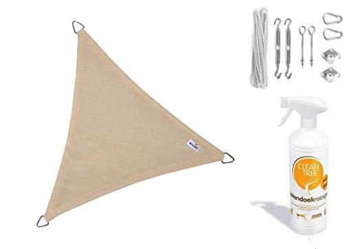 nesling Compleet Pakket Coolfit Stoff waterdoorlatend Dreieck 5x5x5 Meter Sand Met RVs Bevestigingsset in buitendoekreiniger