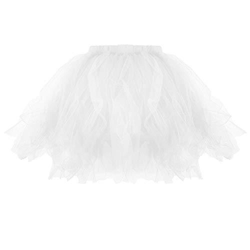 Lazzboy Donna tutù Gonna Midi Tulle Organza Petticoat Ballet Danza Taglia 36-52 Layred Lace-up Waist(36-46,Bianca)